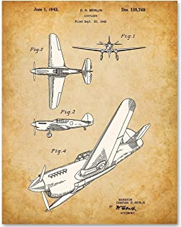 Curtiss P-40 Warhawk Fighter Ground-Attack Airplane - 11x14 Unframed Patent Print - Makes a Great Gift Under $15 for World War II (WWII) Pilots