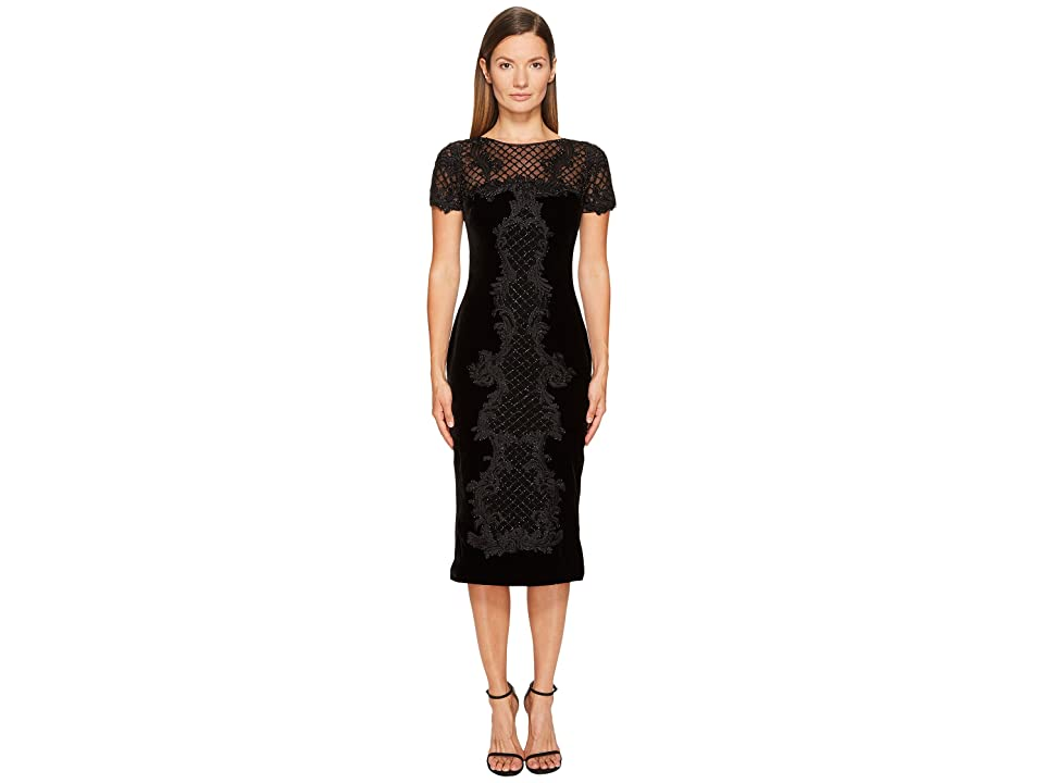 a1bf3482618c5 Marchesa Crew Neck Cocktail in Stretch Velvet (Black Gold) Women s Dress
