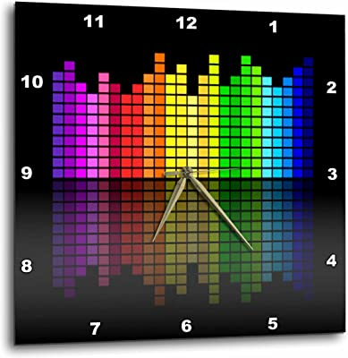 3dRose DPP_38907_1 Pink Red Green Yellow Blue Music Equalizer on Black Wall Clock, 10 by 10-Inch