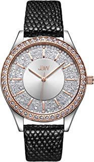 JBW Luxury Women's Mondrian 12 Diamonds 10YR Anniversary Leather Watch