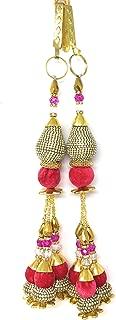 Inhika Set of 2 Decorative Tassel Hanging for Blouse Lehenga and Saree, Fancy Latkan Indian Tassle Design Colour Pink White Stone, 30cm Long