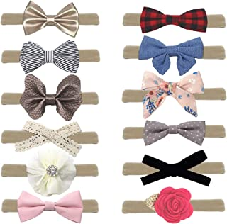12 Pack Baby Girl Nylon Headbands and Bows, Assorted Hair Accessories Newborn Infant Toddler