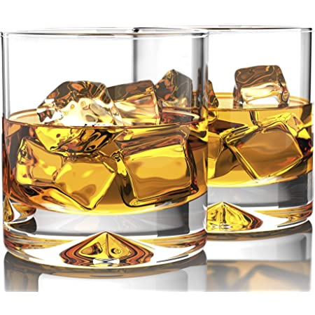 MOFADO Crystal Whiskey Glasses - Classic - 12oz (Set of 2) - Hand Blown Crystal - Thick Weighted Bottom Rocks Glasses - Perfect for Scotch, Bourbon and Old Fashioned Cocktails