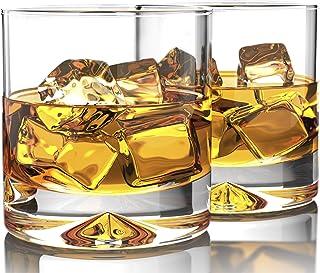 Mofado - Juego de 2 vasos de whisky de vidrio, diseño clá