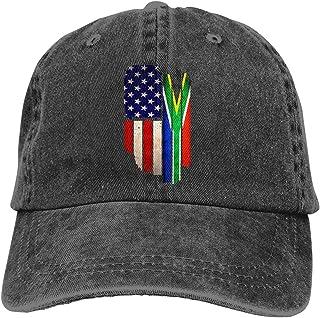 Vintage USA South Africa Flag Men Women Adjustable Baseball Caps Denim Jeanet Sun Hat
