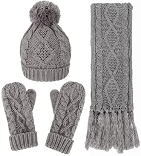 Verabella Women & Men's 3 in 1 Winter Warm Knit Beanie Hat Scarf and Mittens Set