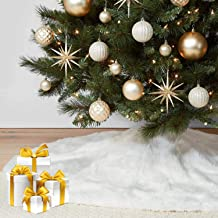 """KD KIDPAR 36"""" Faux Fur Christmas Tree Skirt(Snowy White) for Holiday Tree Decorations and Orname, Plush Soft Classic Fluff..."""