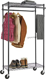 Type A Heavy-Duty Garment Rack | Portable Clothes Rack on Wheels and Shelves | Adjustable Double Hanging Rods | Metal, Black