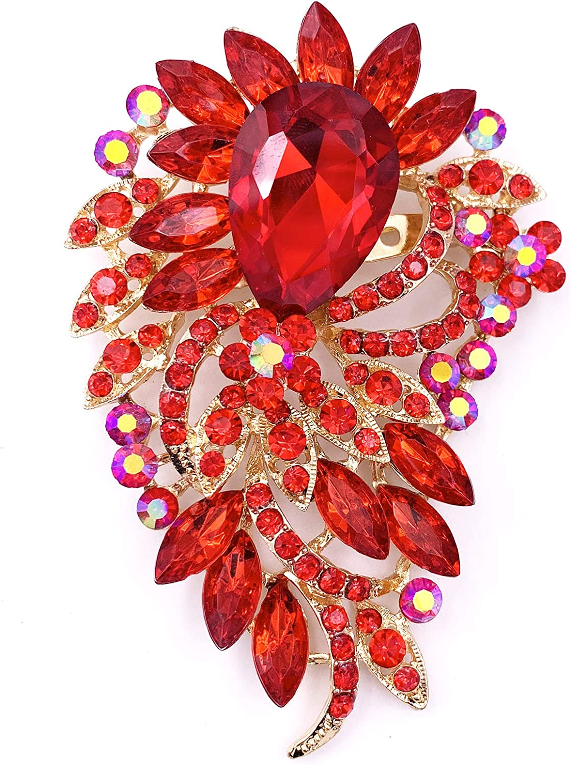 SELOVO Big Large Flower Statement Brooches Pins Scarf Decoration Gold Tone