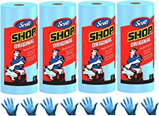 Scott Shop Towels, Strong and Absorbent Multi-Purpose Blue Disposable Towels, 55 Sheets per Roll, 4 Rolls (220 Sheets) | B...