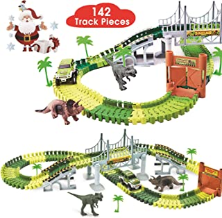 BlueFire Dinosaur Race Track Dinosaur World Race Car Track Train Toys Create A Road Dinosaur Track Toys Playset with 142 P...