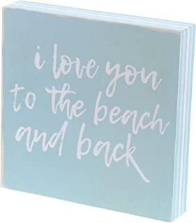 Barnyard Designs I Love You to The Beach and Back Box Sign Decorative Wood Framed Plaque..