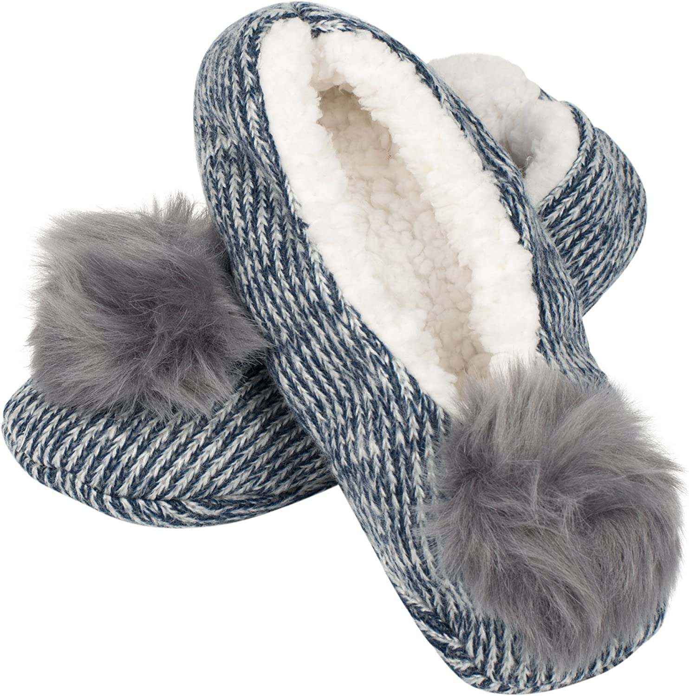 Navy bluee & Grey Poms Women's Shea Butter Infused Sherpa-Lined Women's Slippers, S M