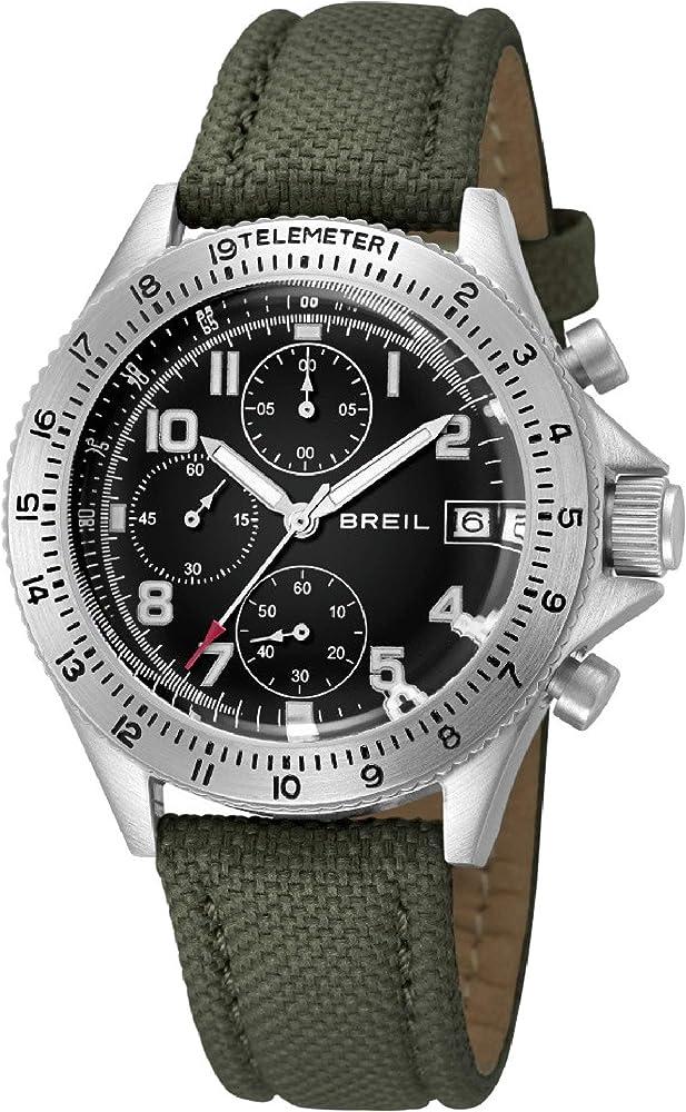 Breil orologio cronografo maverick per uomo con cinturino in tessuto e  con cassa in acciaio inossidabile TW1324_C.VERDE-Unica