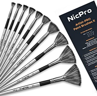 Nicpro Fan Paint Brushes 10 PCS Artist Painting Brush Set for Acrylic Watercolor Oil Painting