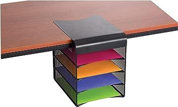 Safco Products Onyx Mesh 4-Tray Underdesk Hanging Organizer 3242BL, Black Powder Coat Finish, Durable Steel Mesh Construction