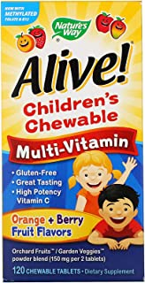 Natures Way Alive Childrens Chewable Multi Vitamin Orange Berry Fruit Flavors - 120 Chewable Tablets