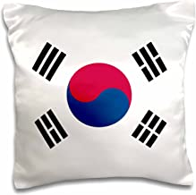 3dRose pc_158435_1 Flag of South Korea Korean White Red Blue Taegeuk Circle Black Trigrams Taiji Yinyang Taegeukgi Pillow Case, 16