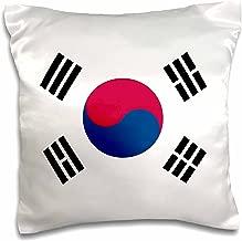 3dRose pc_158435_1 Flag of South Korea Korean White Red Blue Taegeuk Circle Black Trigrams Taiji Yinyang Taegeukgi Pillow Case, 16 x 16