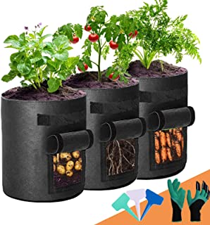 Potato Grow Bags, 3-Pack 7 Gallon 2 Side Windows Plant Grow Bags Heavy Duty Thickened Aeration Fabric Pots with Sturdy Han...