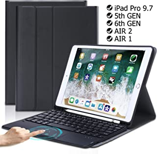 QHOHQ TouchPad Keyboard Case for iPad 9.7 2018 (6th Gen)-iPad 9.7 2017 (5th Gen)-iPad Pro 9.7-iPad Air 2 and 1,Ultra-Thin/Wireless Bluetooth/(USB Type C) Fast Charging/Advanced Leather Case (Black)