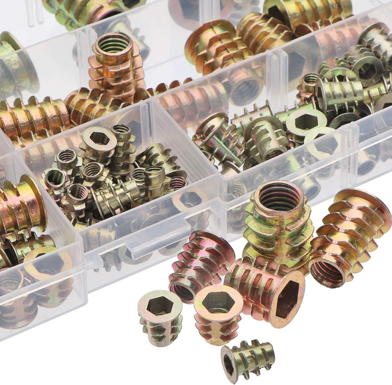Wood Insert Assortment Tool Kit M4//M5//M6//M8 Furniture Screw in Nut Wood Inserts Metric Bolt Fastener Hex Socket Drive for Wood Furniture Assortment URLWALL 165PCS Threaded Inserts Nuts