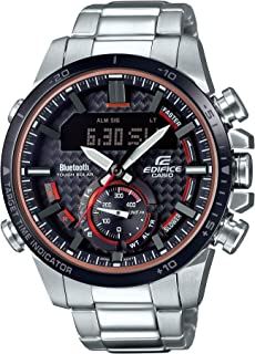 Men's Edifice Quartz Watch with Stainless-Steel Strap, Silver, 22 (Model: ECB-800DB-1ACF)