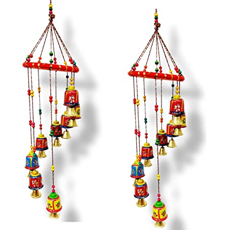 JH Gallery Handcrafted Rajasthani Door/Wall Hanging Decorative Hanging/Wall Hanging/Home Decor/Home Furnishing/Diwali Gift/Corporate Gift (Bells) (Pack of 2)