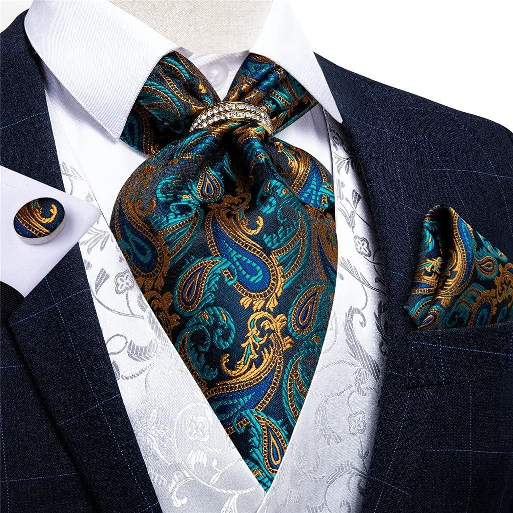 TJLSS Men's Vintage Teal Green Gold Classic Wedding Formal Cravat Self Ties Gentleman Silk Neck Tie Scarf (Color : Gold Ring, Size : One Size)
