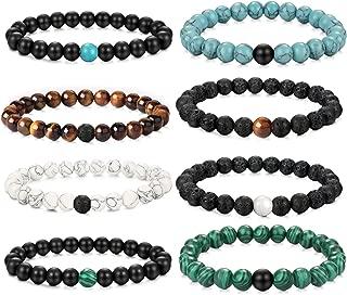 YADOCA 8 PCS 8MM Bead Bracelets for Men Women Natural Stone Long Distance Couple Bracelets Elastic Yoga Beads Bracelets