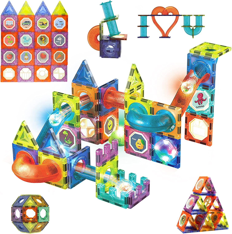 Buy Magnetic Tiles Blocks Gifts Toys for Kids, Marble Run Race ...