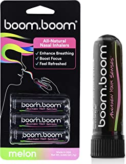 BoomBoom Aromatherapy Nasal Inhaler (3 Pack) Boosts Focus + Enhances Breathing | Provides Fresh Cooling Sensation | Made with Essential Oils + Menthol (Melon)
