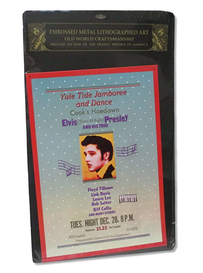 Real Swag Inc Elvis Presley Yule Tide Jamboree Embossed Metal Tin Litho Poster