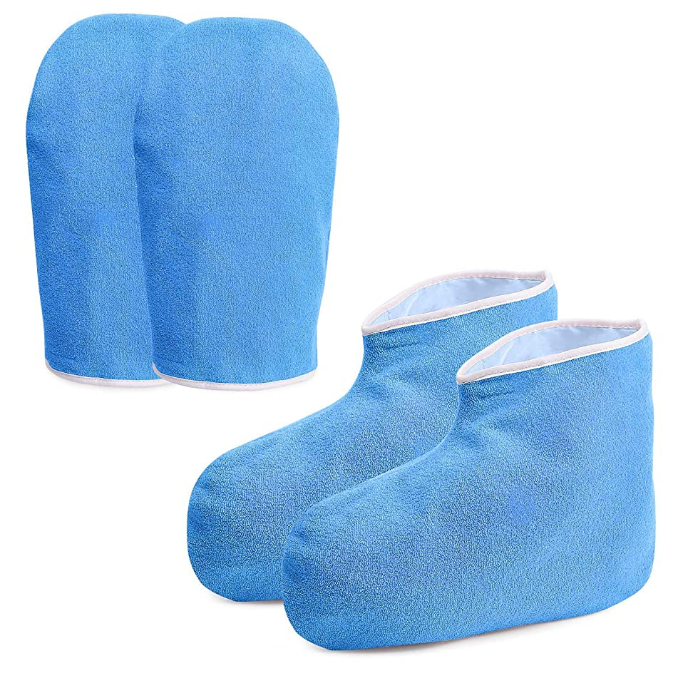 Paraffin Wax Work Gloves & Booties, Wax Bath Hand Treatment Mitts Foot Spa Cover for Women, Thin Heat Therapy Insulated Soft Cotton Mittens Feet Hand Care Set - Blue