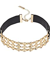 Steve Madden - Interlocking Stud Suede Straps Choker Necklace