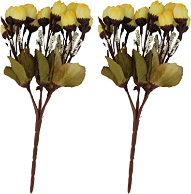 TIED RIBBONS Artificial Peonies Flower Bunches (Yellow, Set of 2)