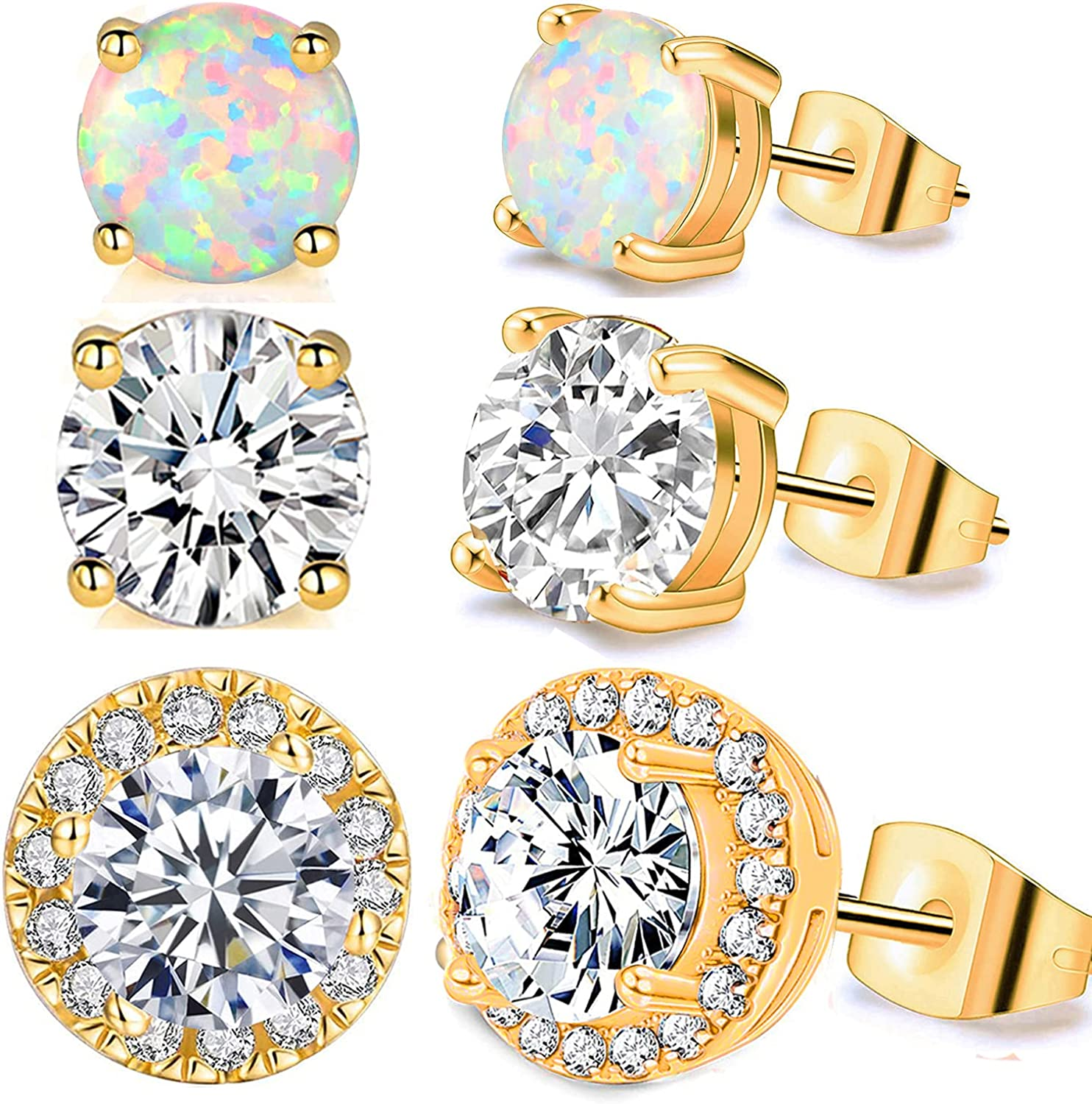Pack of Earrings Easy-to-use for Women Men G Yellow 18K Studs Free Shipping New Hypoallergenic