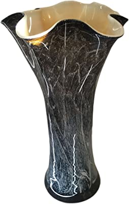 Contemporary Round Black Glass Vase with Aluminum Stand