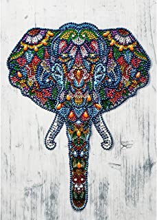 DIY 5D Special Shape Diamond Painting by Number Kit Crystal Rhinestone Round Drill Picture Art Craft Home Wall Decor 12x16In Colored Elephant