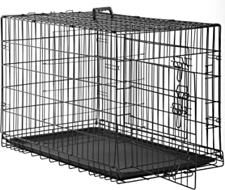 Dog Crate Kennel Pet Cage for Large Medium Dogs Travel Metal Double-Door Folding Indoor Outdoor Puppy Playpen with Divider...