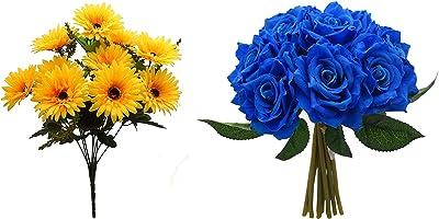 Fourwalls Artificial Garabara Flower Bunches, Artificial Rose Bouquet