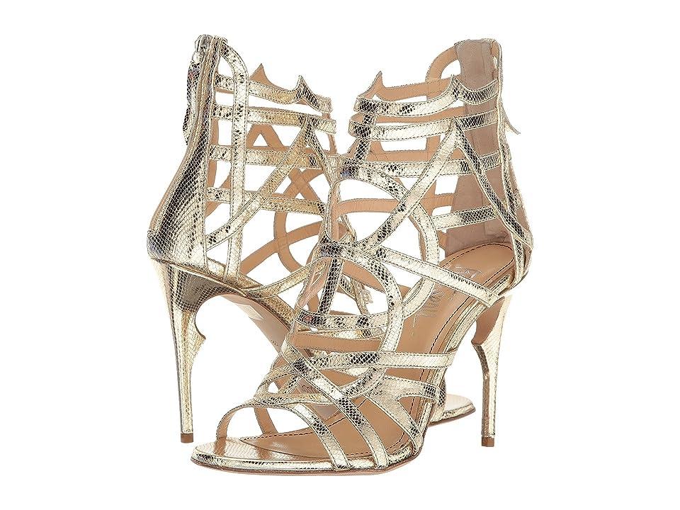 Jerome C. Rousseau Metallic Leather Snake Stamp Heel (Gold) High Heels