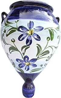 Cactus Canyon Ceramics Spanish Hand-Painted Orza Wall Flower Planter, Sky