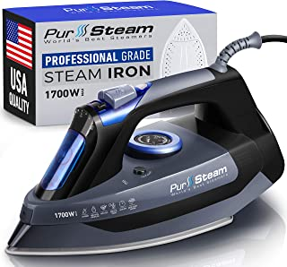 Professional Grade 1700W Steam Iron for Clothes with Rapid Even Heat Scratch Resistant Stainless Steel Sole Plate, True Po...