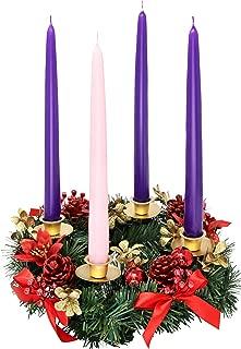 Christmas Advent Wreath -Red Berry Advent Season Centerpiece Décor - Advent Candle and X-mas Candles Decorations - Advent Calendar Season Decoration