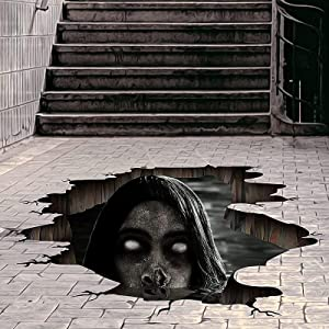 3D Halloween Floor Wall Stickers Halloween Scary Home Decorations for Bar Pub, Horror Zombie Ghost Floor Ceilings Removable Halloween Decor Wallpaper for Bar Pub Halloween Party Supplies