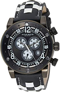 Akribos XXIV Men's 'Explorer' Chronograph Watch - 3 Multifunction Subdials with Date Window On Genuine Woven Leather Checkerboard Pattern Strap - AK612