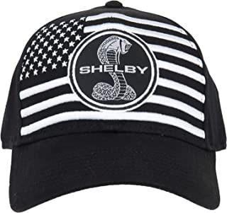 Shelby White American Flag on Black Hat | Officialy Licensed Shelby Product | Adjustable, One-Size Fits All | Two-Piece Ho...