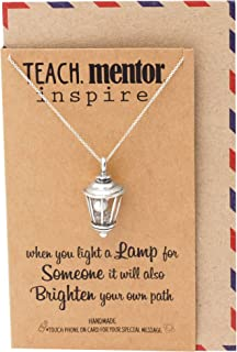 Quan Jewelry Teacher Gifts Street Lamp Necklace with Greeting Card, Handmade Jewelry for Women