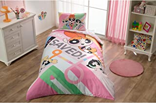 Original Licensed Power Puff Girls Single/Twin Size 3 Pcs Bedding Set, 100 % Cotton Duvet/Quilt Cover Set with Duvet Cover , Fitted Sheet and Pillow Case